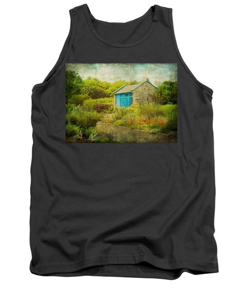 Vintage Inspired Garden Shed With Blue Door Tank Top by Brooke T Ryan