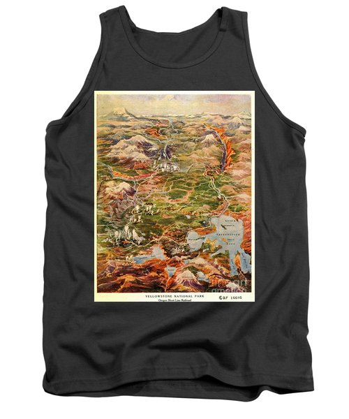 Vintage Map Of Yellowstone National Park Tank Top