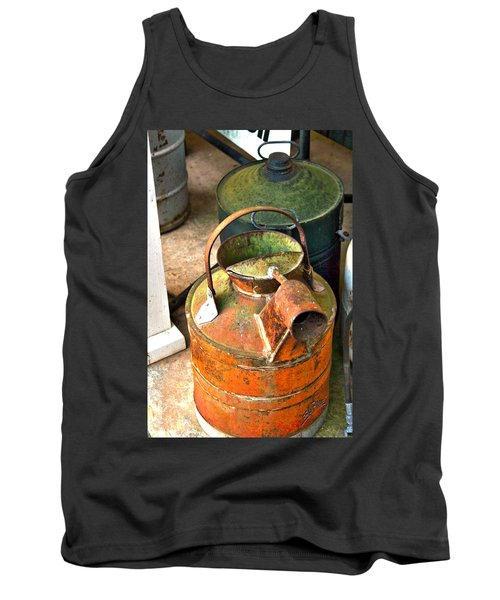 Tank Top featuring the photograph Vintage Orange And Green Galvanized Containers by Lesa Fine