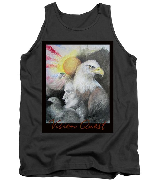 Vision Quest - Native American Art - Pastel And Pencil Tank Top