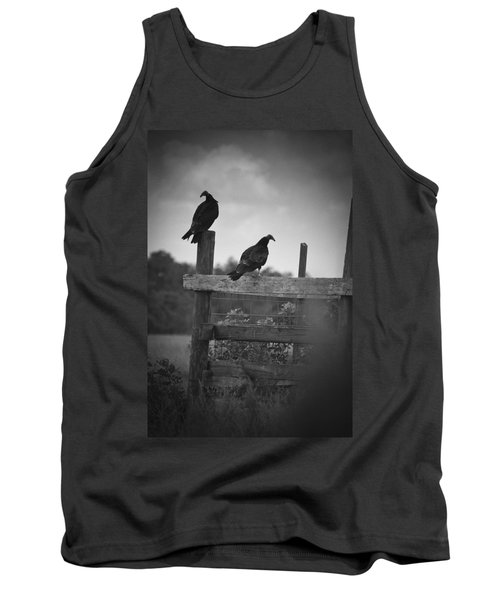 Vultures On Fence Tank Top by Bradley R Youngberg
