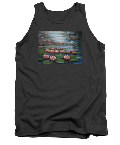 Tank Top featuring the painting Water Lilies In Monet Garden by Laila Awad Jamaleldin
