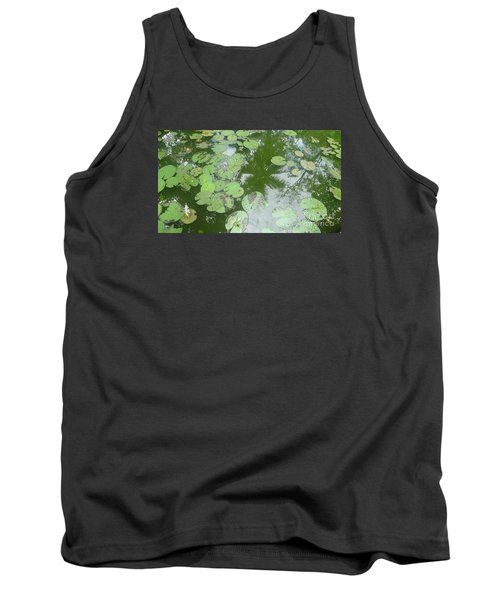 Water Lily Leaves And Palm Trees Tank Top