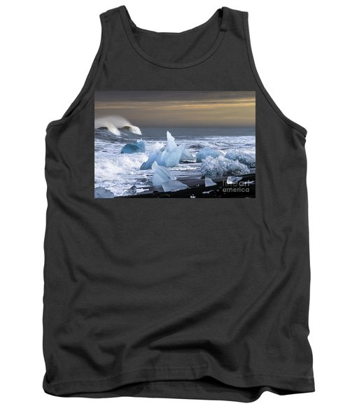 Tank Top featuring the photograph Water Versus Ice by Gunnar Orn Arnason