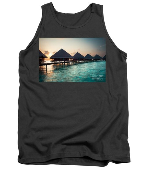 Waterbungalows At Sunset Tank Top by Hannes Cmarits