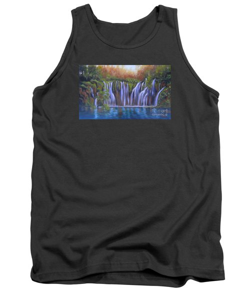 Tank Top featuring the painting Waterfalls - Plitvice Lakes by Vesna Martinjak
