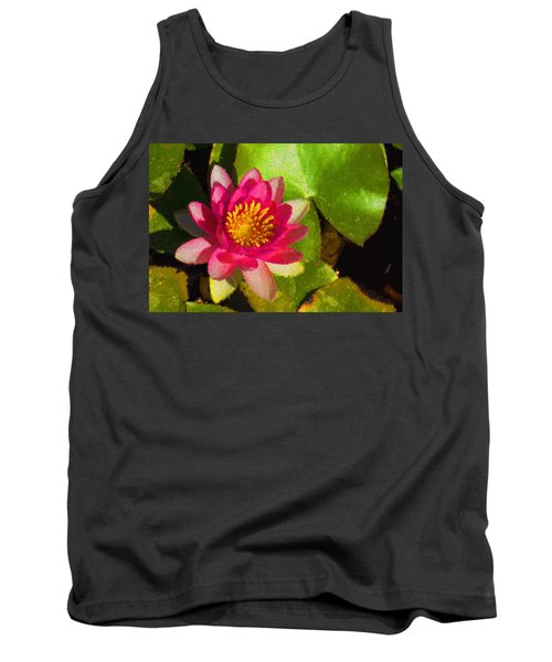 Waterlily Impression In Fuchsia And Pink Tank Top