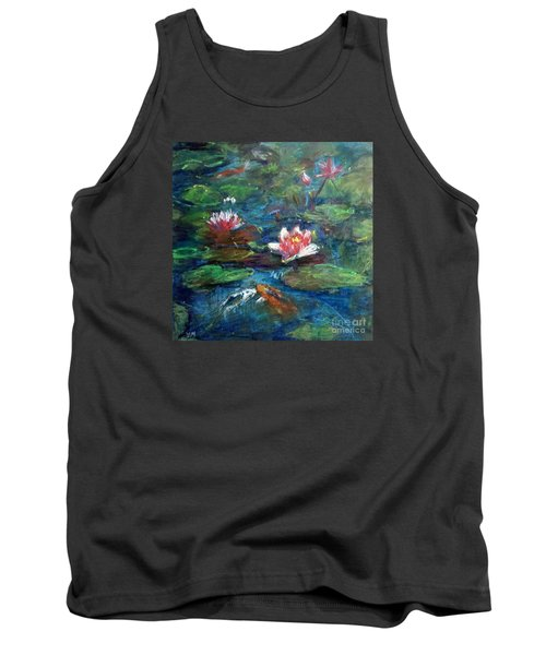 Tank Top featuring the painting Waterlily In Water by Jieming Wang