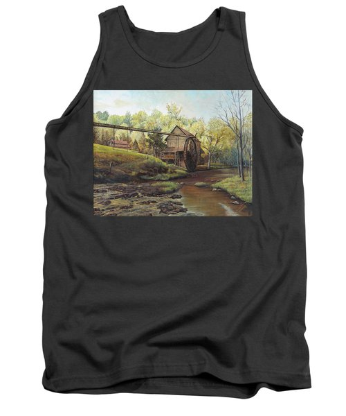 Tank Top featuring the painting Watermill At Daybreak  by Mary Ellen Anderson
