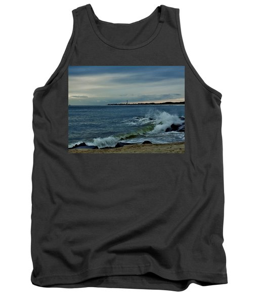 Wave Crashing At Cape May Cove Tank Top by Ed Sweeney