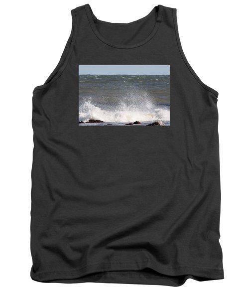 Waves Pounding The Montauk Surf Tank Top by John Telfer