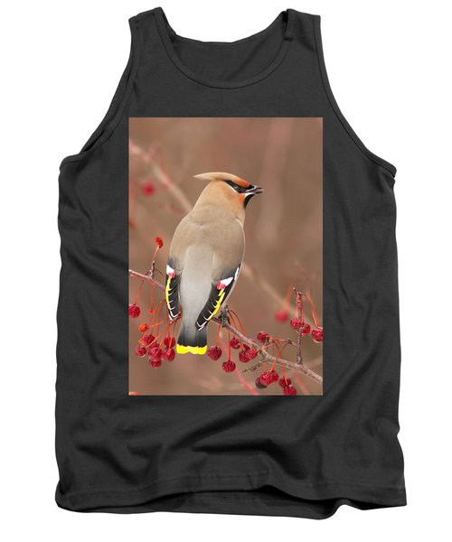 Waxwing In Winter Tank Top by Mircea Costina Photography