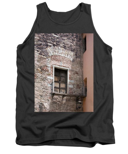 Tank Top featuring the photograph Weathered Wooden Church Doors by Lynn Palmer