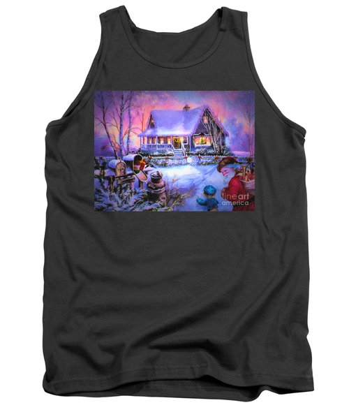 Tank Top featuring the digital art Welcome Santa - Retro Vintage Inspired Christmas Scene by Lianne Schneider