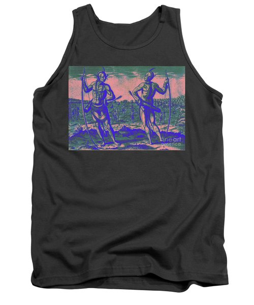Tank Top featuring the drawing Weroans Of Virginia 1590 by Peter Gumaer Ogden