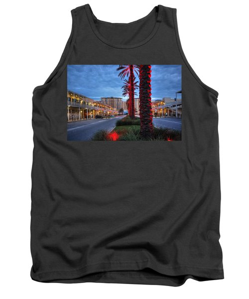 Wharf Red Lighted Trees Tank Top by Michael Thomas