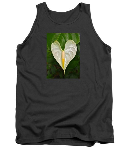 White Anthurium Heart Tank Top by Venetia Featherstone-Witty