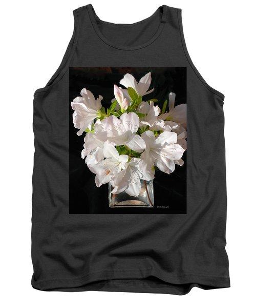 White Azalea Bouquet In Glass Vase Tank Top by Connie Fox