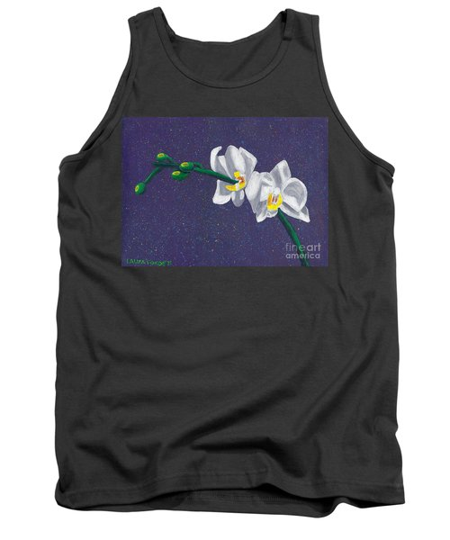 Tank Top featuring the painting White Orchids On Dark Blue by Laura Forde