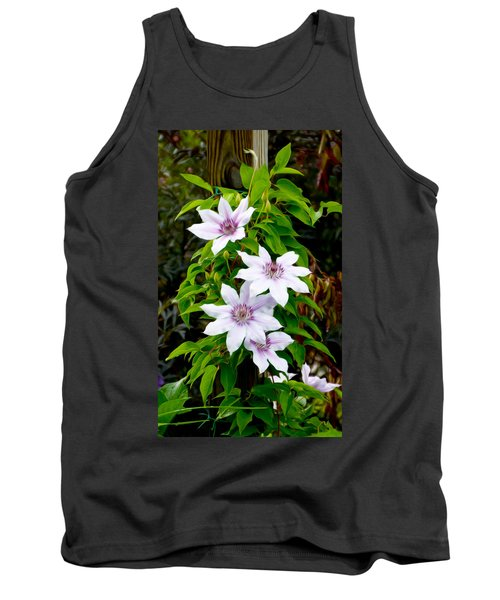 White With Purple Flowers 2 Tank Top