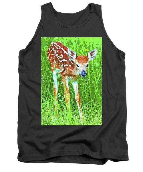 Whitetailed Deer Fawn Digital Image Tank Top