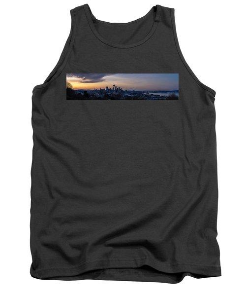 Wide Seattle Morning Skyline Tank Top by Mike Reid