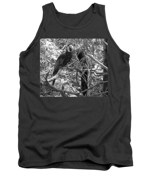 Tank Top featuring the photograph Wild Hawaiian Parrot Black And White by Joseph Baril