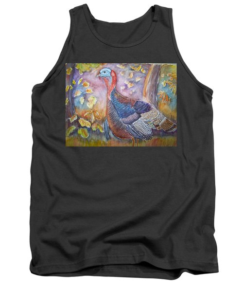Tank Top featuring the painting Wild Turkey In The Brush by Belinda Lawson