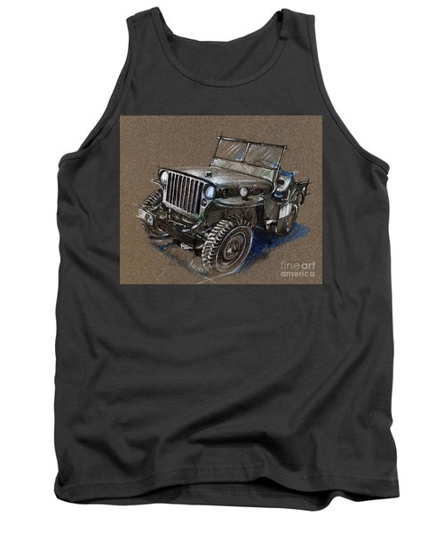 Willys Car Drawing Tank Top