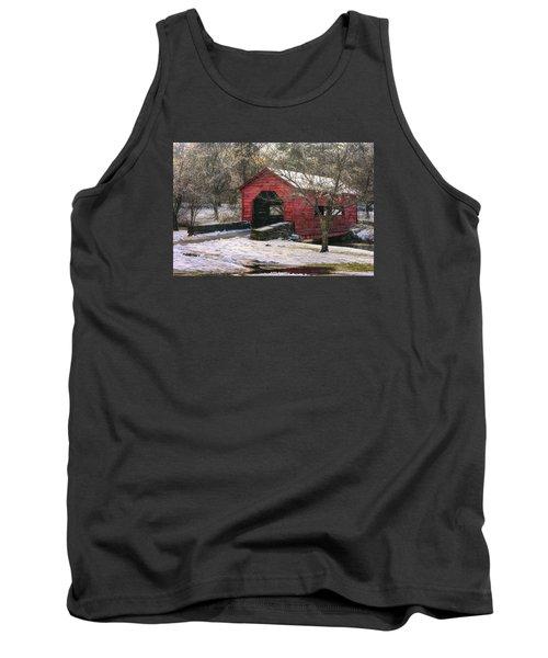 Winter Crossing In Elegance - Carroll Creek Covered Bridge - Baker Park Frederick Maryland Tank Top