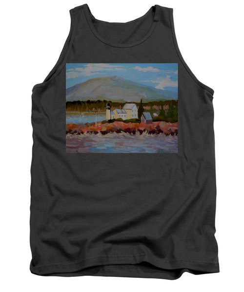 Tank Top featuring the painting Winter Harbor Light by Francine Frank