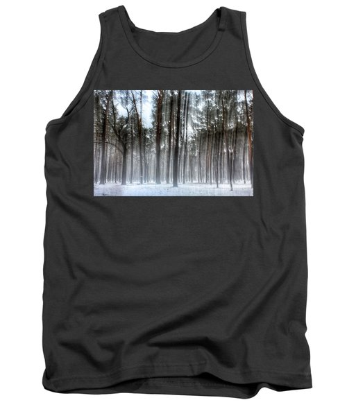 Winter Light In A Forest With Dancing Trees Tank Top