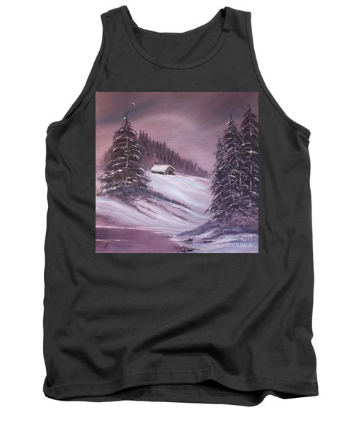 Tank Top featuring the painting Winter Moon by Janice Rae Pariza