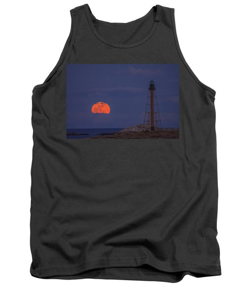 Winter Moon Rising Over Marblehead Light Tank Top by Jeff Folger