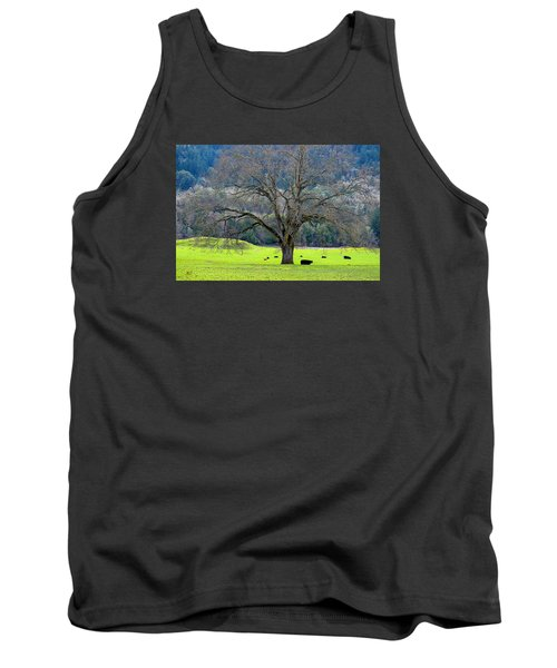 Winter Tree With Cows By The Umpqua River Tank Top by Michele Avanti