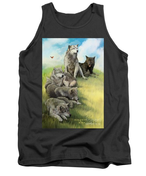 Tank Top featuring the painting Wolf Gathering Lazy by Rob Corsetti