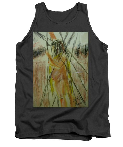 Woman In Sticks Tank Top by David Trotter