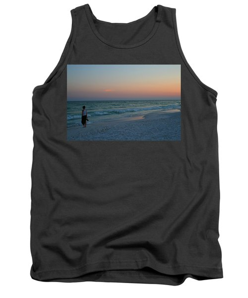 Woman On Beach At Dusk Tank Top