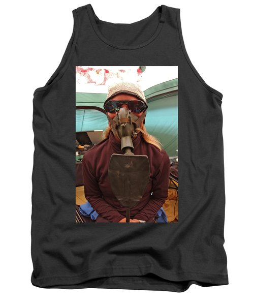 Woman With Oxygen Mask On Everest Tank Top