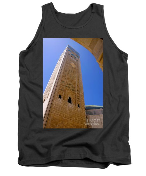 Tank Top featuring the photograph Worlds Tallest Minaret At 210m Hassan II Mosque Grand Mosque Sour Jdid Casablanca Morocco by Ralph A  Ledergerber-Photography