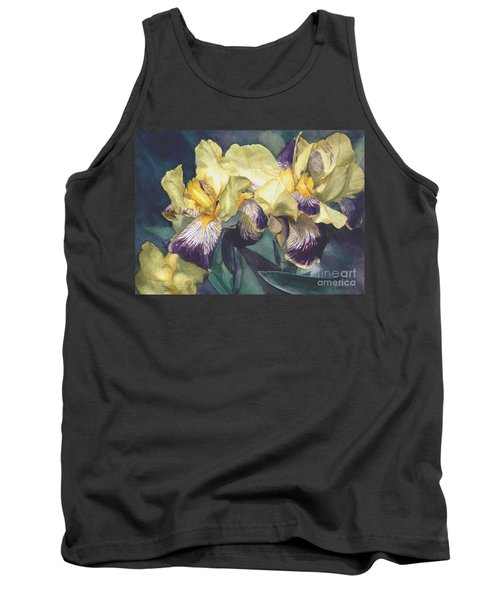 Watercolor Of A Tall Bearded Iris Painted In Yellow With Purple Veins Tank Top