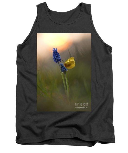 Yellow Butterfly On Grape Hyacinths Tank Top