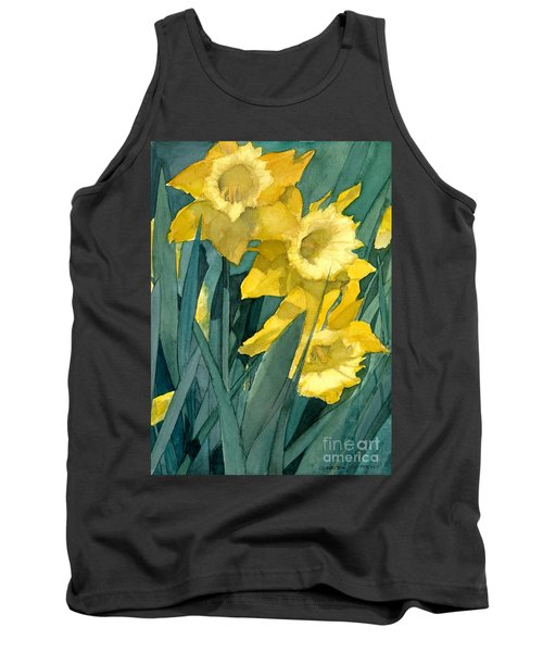 Watercolor Painting Of Blooming Yellow Daffodils Tank Top