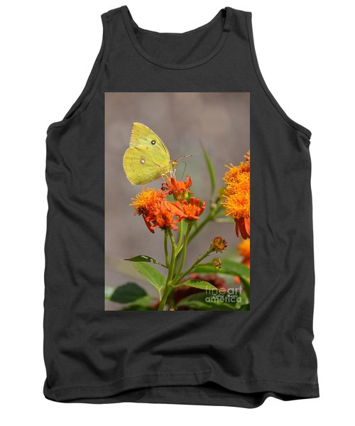 Tank Top featuring the photograph Yellow Sulphur Butterfly by Debra Martz