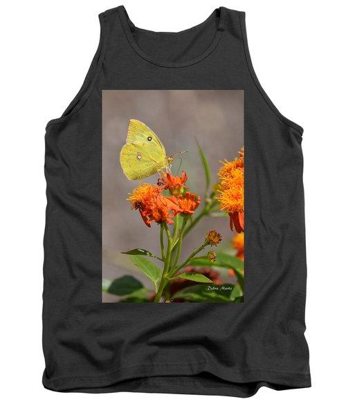 Yellow Sulphur Butterfly Tank Top by Debra Martz