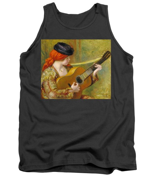 Young Spanish Woman With A Guitar Tank Top