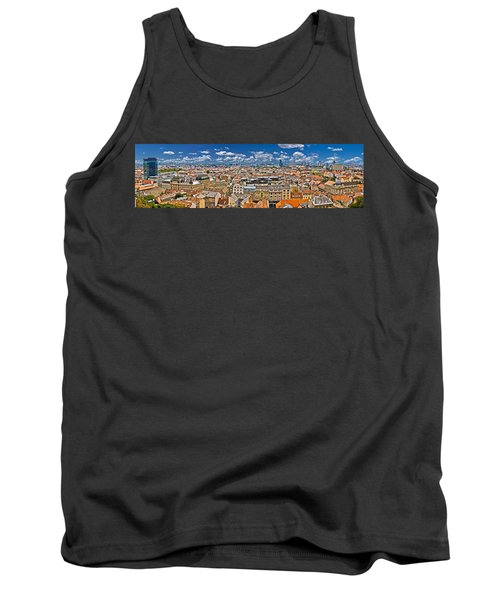 Zagreb Lower Town Colorful Panoramic View Tank Top by Brch Photography