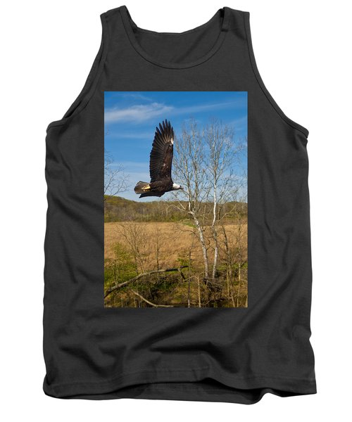 Tank Top featuring the photograph  Eagle Circleing Her Nest by Randall Branham