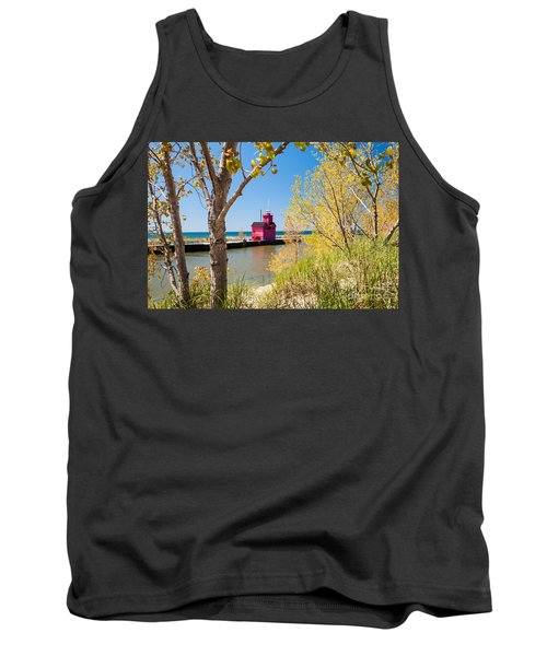 Tank Top featuring the photograph Holland Mi Lighthouse by Larry Carr