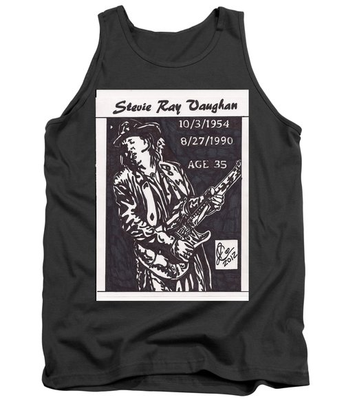 Tank Top featuring the drawing Stevie Ray Vaughn by Jeremiah Colley